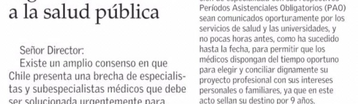 Carta al director de El Mercurio sobre CONISS 2019